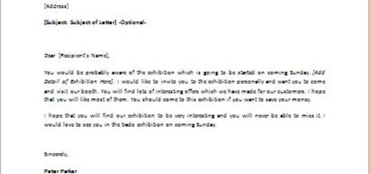 Invitation Letter to a Trade Exhibition