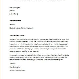 Invitation letter to an effective communication seminar