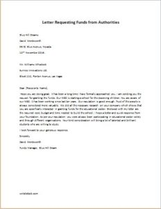 Letter Requesting Funds from Authorities