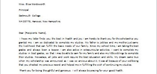 Letter of Appreciation for Scholarship