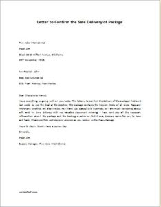 Letter to Confirm the Safe Delivery of Package