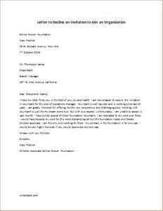 letter to decline an invitation to join an organization
