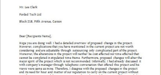 Letter to disagree with the proposed change in a project