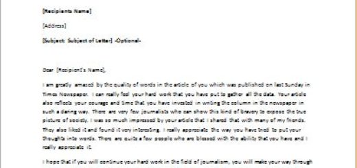Motivation Letter to a journalist