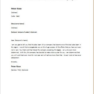 Persuasion Letter to Sales Person for Exceeding Targets