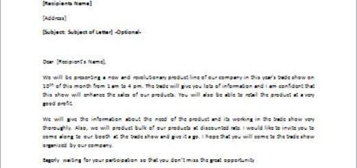 Invitation Letter for Product Demonstration at the Trade Show