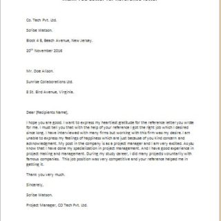 Thank You Letter for Reference Letter