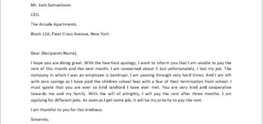 Apology letter for not being able to pay rent