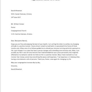 Appreciation Letter to a Pastor