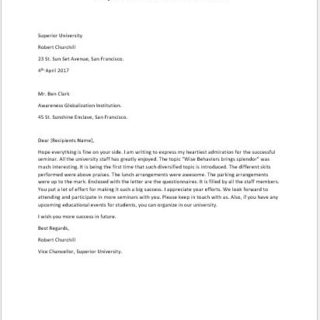 Compliment Letter for a Successful Event