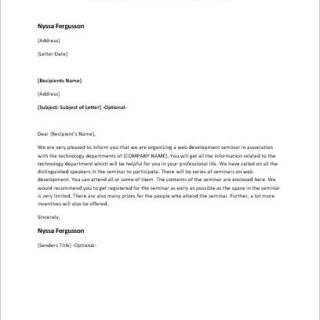 Invitation letter to a web development seminar