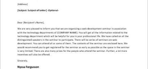 Invitation letter to a web development seminar