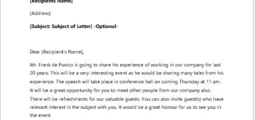 Invitation Letter to an Industry Veterans Speech