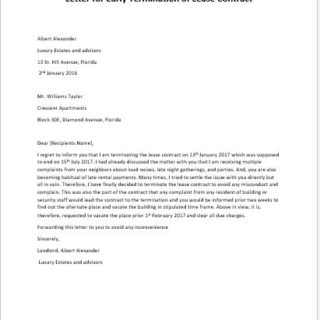 Letter for Early Termination of Lease Contract