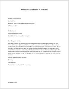 Letter of Cancellation of an Event