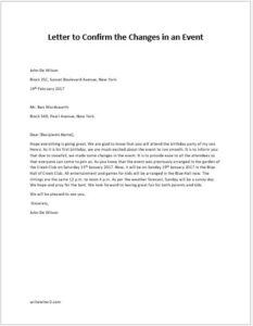 Letter to Confirm the Changes in an Event