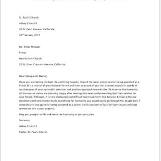 Letter to Congratulate Someone for being Accepted as a Priest