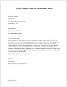 Letter to Encourage a Supervisor after a Company Setback