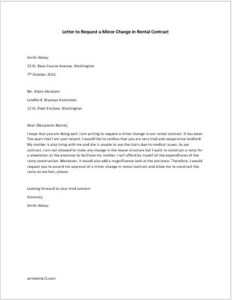 Letter to Request a Minor Change in the Contract