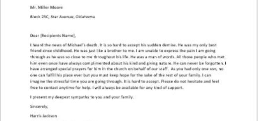 Letter to Sympathize for the Death of a Family Member