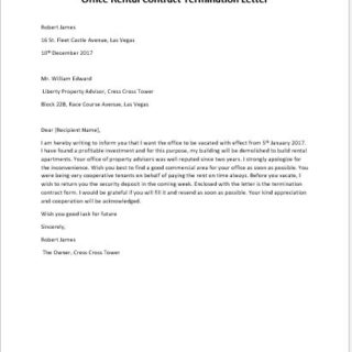 Office Rental Contract Termination Letter