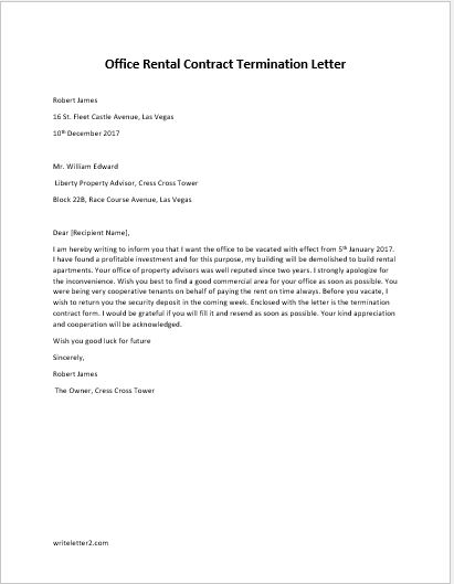 Termination Of Rental Agreement Letter From Landlord from writeletter2.com