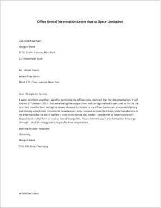 Office Rental Termination Letter due to Space Limitation