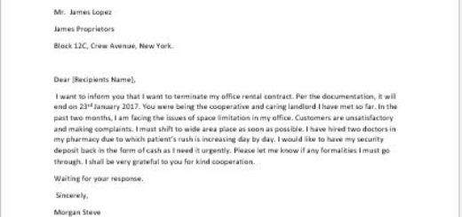 Sample Lease Termination Letter To Tenant: Thank You Letter To Landlord For Cooperation
