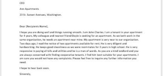 Reference Letter for Someone Seeking to Rent a House or Apartment