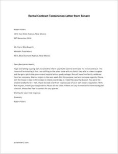Rental Contract Termination Letter on Tenant's Behalf