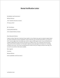 Rental verification letter template for Rental verification letter template