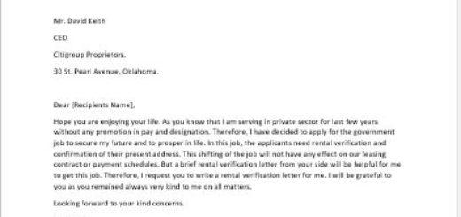 Rental Verification Request Letter