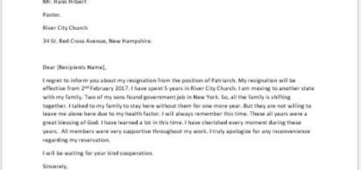 Resignation Letter from a Church Position