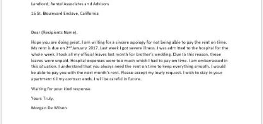 Sorry Letter from Tenant for not Paying the Rent on Time