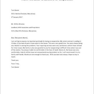 Thank You Letter to Landlord for Cooperation