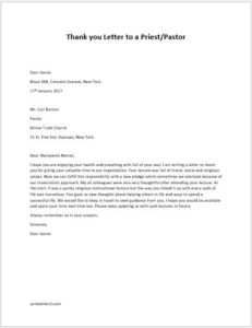 Thank You Letter To A Priest Pastor Writeletter2 Com
