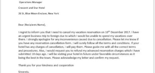 Vacation Reservation Cancellation Letter