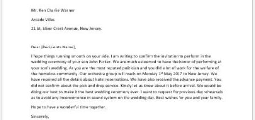 Acceptance Letter of Invitation to Speak or Perform