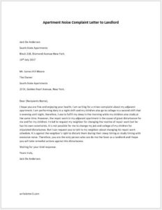 Apartment noise complaint letter latest bestapartment 2018 for Complaint letter to landlord template