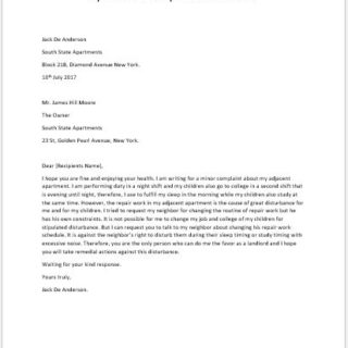 Apartment Noise Complaint Letter to Landlord