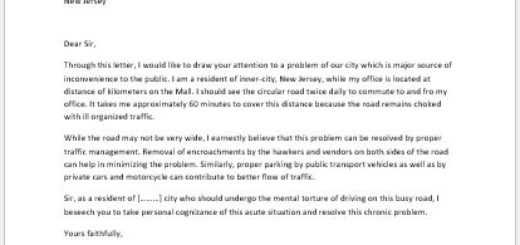 Complaint Letter Against the Problems Related to Public Transport in Your Area