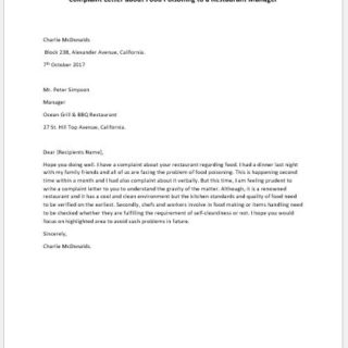 Complaint Letter about Food Poisoning to a Restaurant Manager