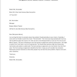 Complaint Letter about Movie Theater Facilities