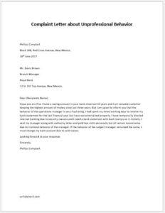 Complaint Letter about Unprofessional Behavior