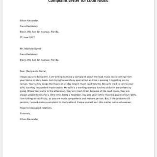 Complaint Letter for Loud Music