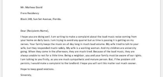 Complaint Letter for Loud Music