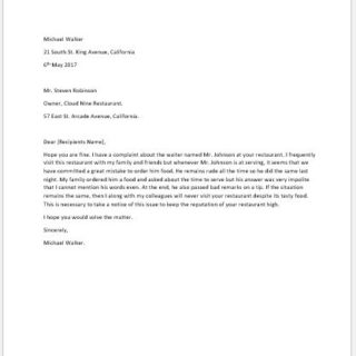 Complaint Letter for Rude Behavior of an Employee