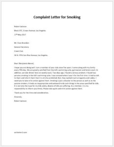 Complaint Letter for Smoking