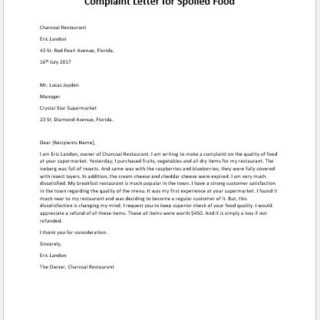 Complaint Letter for Spoiled Food