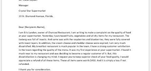 Complaint Letter for Spoiled Food | writeletter2 com